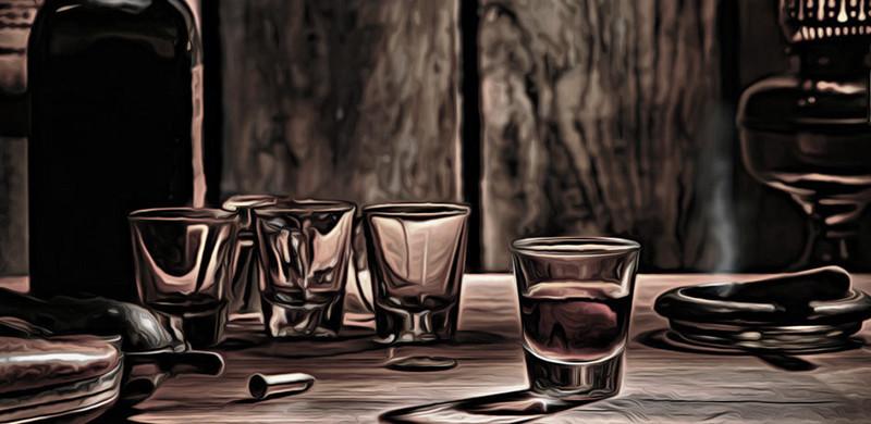 American West Legend Whisky Glass on Western Bar
